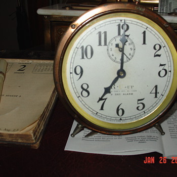 1917 Copper  8 Day Alarm Clock...Made In St. Louis, Missouri U.S.A. - Clocks