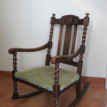 Spiral turned oak rocking chair