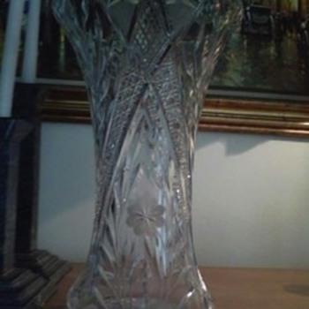 """Antique cut crystal 14 """" vase  floral pattern - Glassware"""