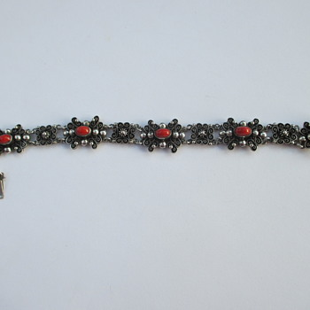 Silver and coral bracelet - a present for myself
