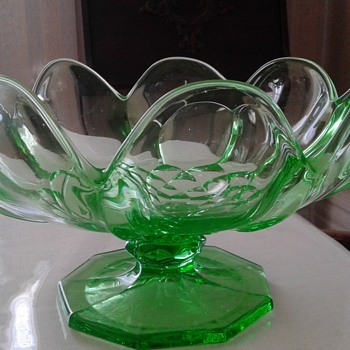 Vaseline glass footed bowl - Glassware