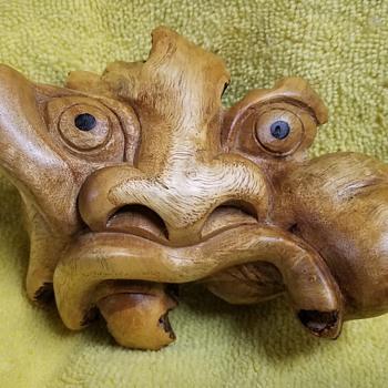 Wood Carved Face  - Folk Art
