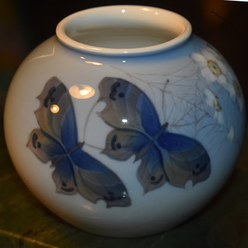 Royal Copenhagen Round Vase with Butterflies [Moths?], Spiderweb and Flowering Branch - Pottery