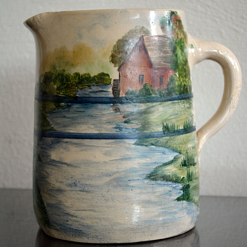 Pitcher w/Painted Scenery - Pottery