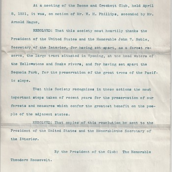 Teddy Roosevelt Signed Boone & Crockett Resolution for Sequoia National Park - Paper