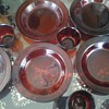 arcoroc france ruby red dishes
