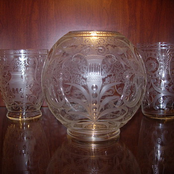 bohemian czech etched/engraved glass vases - Art Glass