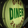 Vintage 1950's OPEN DINER 24-Hours  Vaccum foam Back-Lit /Bulb Lit Sign