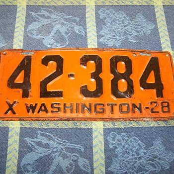 1928 Washington State Auto License Plate