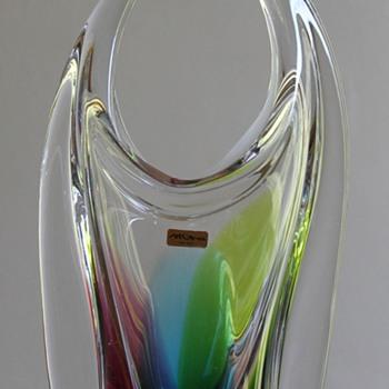 """Art Glass Japan """"Rainbow Bull"""" Vase - Art Glass"""