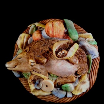 rare Ansley Hedgehog in Basket Figure/Paper weight - Pottery