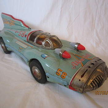 1950's Scarce/Rare Atom Jet #58 Yonezawa Japan Tin Litho Friction Furturistic Race Car - Model Cars