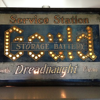 Antique Punched Tin Service Station Sign - Signs