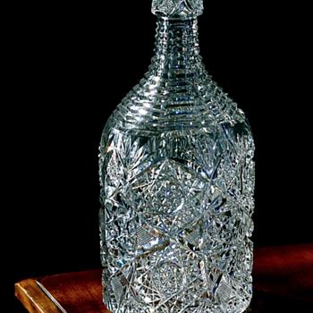 <<<--- 1890's Cut Glass Whiskey Bottle --->>> - Bottles