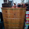 Antique Curly Maple Highboy w/ Hat Box ~ Serpentine