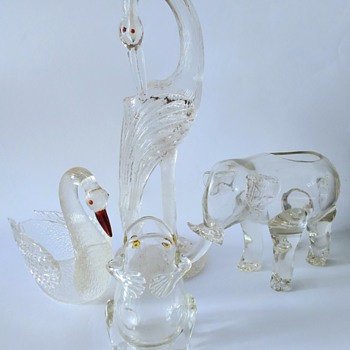 Loetz: Animals in crystal martele and crystal smooth. - Art Glass