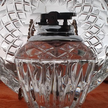 Crystal table lighter and ashtray set - Tobacciana