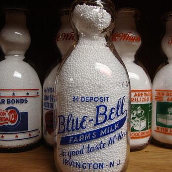 BLUE BELL FARMS 3 CENT DEPOSIT COP THE CREAM IRVINGTON NEW JERSEY MILK BOTTLE - Bottles