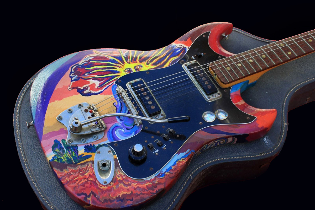 1960s Signed Psychedelic Art Guitar For The Incredible Iguanas