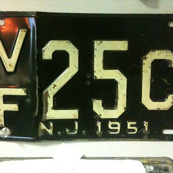 1951 New Jersey License Plate - Signs