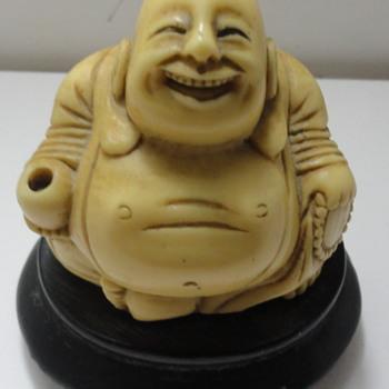 Signed Sitting Hotei Happy Buddha Statue bone/ resin  ???