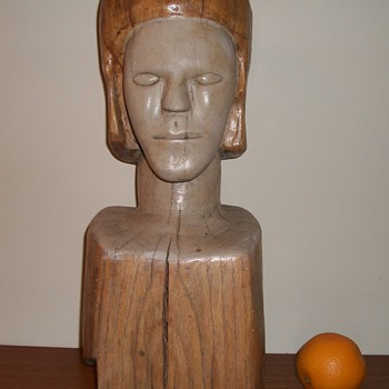 Large Folk Art Bust Carved Head Wood Sculpture  - Folk Art