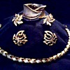 """ Trifari"" Demi-Parure (?) Necklace, Cuff Bracelet, and Ear Rings / Circa 1960"