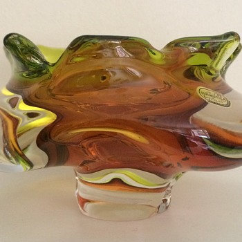 Chribska graduated blown and cut bowl - Art Glass