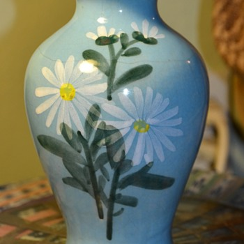 Glazed Vase with Daisies - unsigned - Pottery