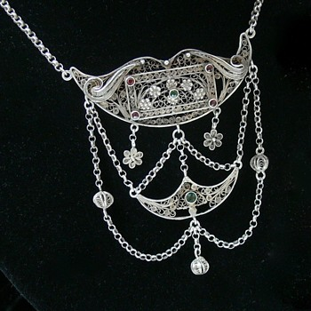 Fine Filigree Antique? Norwegian 830 Silver Lavaliere Necklace Maker?