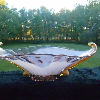 Beautiful Cased Art Glass Dish