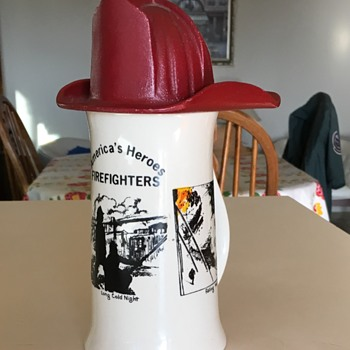 Old Firemans Mug with a Cast Iron Red Hat - Firefighting
