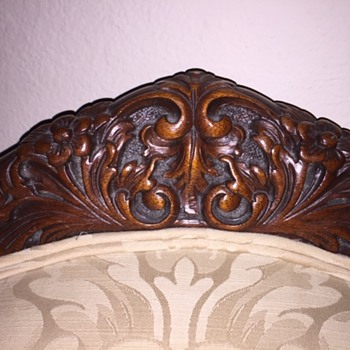 Antique Ornate Upholstered Chair Carved French? - Furniture