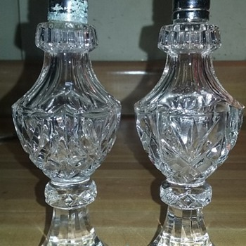 Crystal salt and pepper shakers.