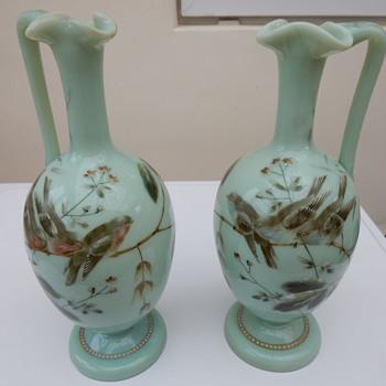 Uranium Opaline Glass Vases - Victorian Era