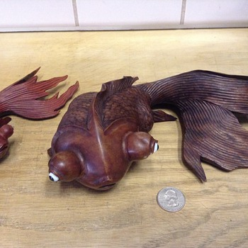 Hand carved rosewood koi fish - Asian