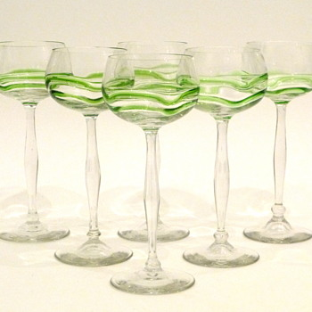 "Hans Christiansen ""Liane"" Theresienthal jugendstil wine glasses - Art Nouveau"