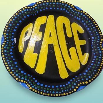 Vintage 60s - 70s Hippie OOAK folk art hand painted Peace Plate - Folk Art