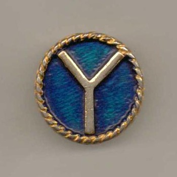 """Y"" Initial Pinback - Medals Pins and Badges"