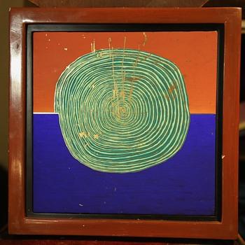 Painted tile by Joel Thayer - framed - Fine Art