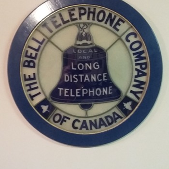 """Very rare leaded glass Bell sign 24"""" without frame. Any others out there? - Telephones"""