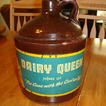 Vintage Brown Jug With Dairy Queen Label....... - Advertising