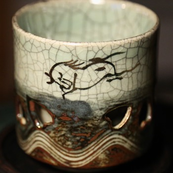 """Japanese Somayaki Hashirigoma Japanese """"Aohibi"""" pottery - 1950s? - Pottery"""