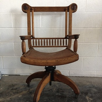 Antique Desk Chair w/ Leather Faces - Furniture