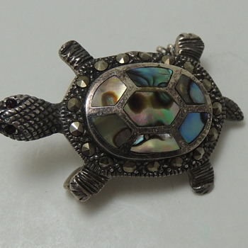 STERLING SILVER PIN - Turtle with Abalone and ? - Costume Jewelry