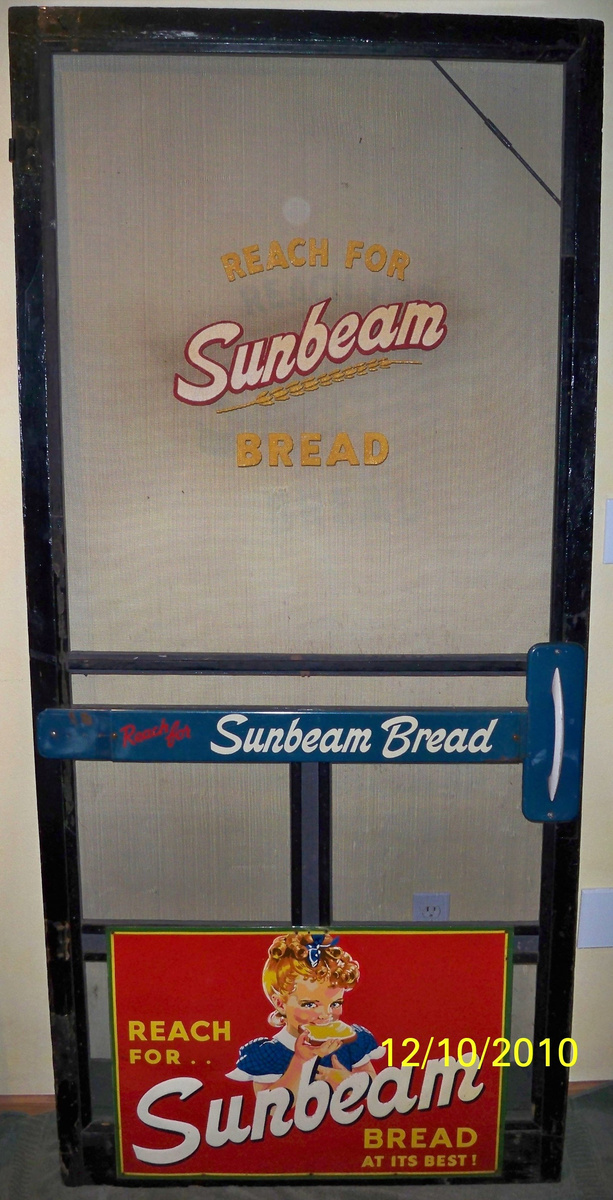 Antique Rare Sunbeam Bread Screen Door Very Neat