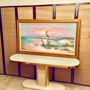 1970's Huge Oil Painting Seagulls at Beach Diffused Light by W Dawson  - Fine Art