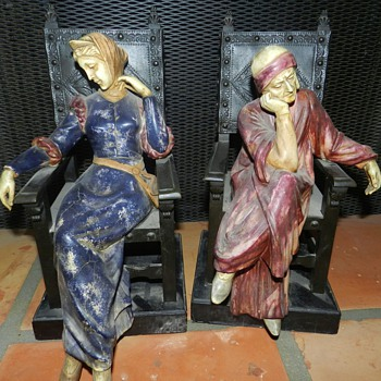 Strange Old Italian Seated Figures - Bookends? - Books