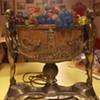 Czech glass/ bronze vintage lamp