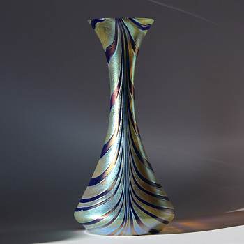 Variant of Kralik Blue on Gold Vase - Art Glass